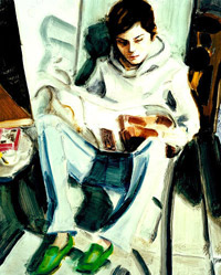 Elizabeth Peyton  - E.P. Reading (self-portrait). 2005